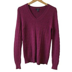J.Crew Cambridge Cable Vneck Wool Sweater Small